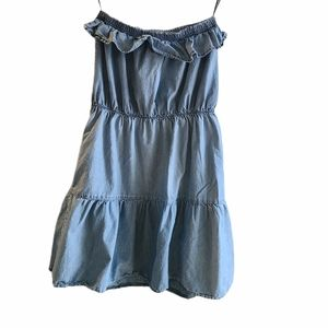 Blue Ruffled tube top dress with pockets